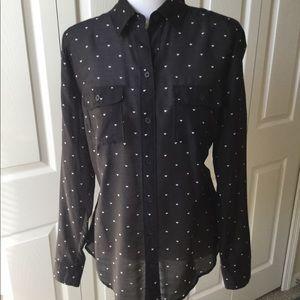 Loft black print blouse with hearts.